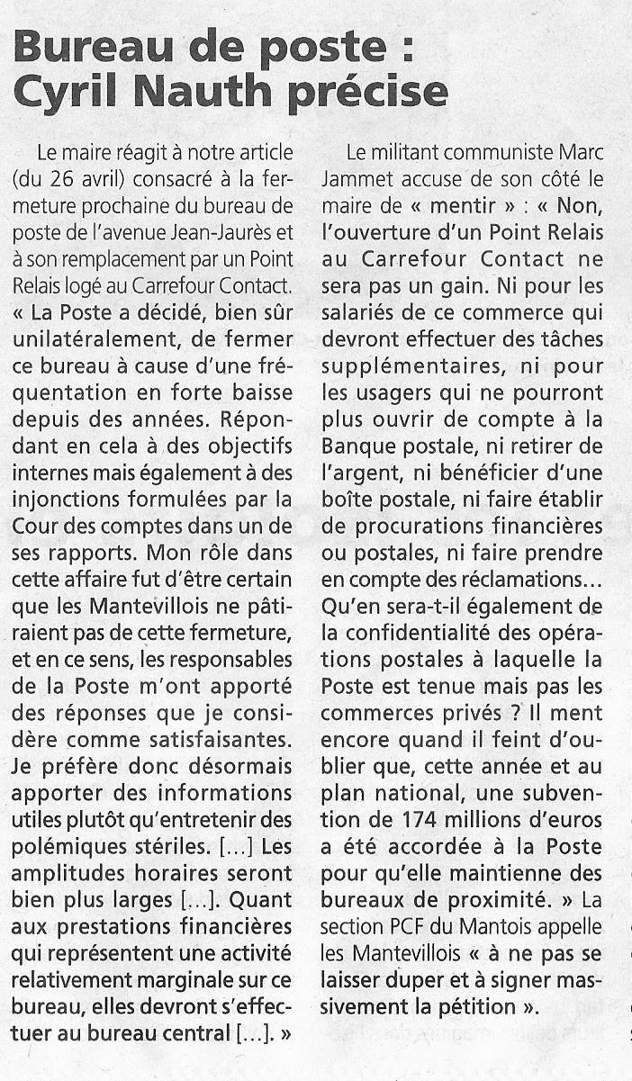 La Poste. Le maire FN de Mantes-la-Ville justifie à nouveau la fermeture.