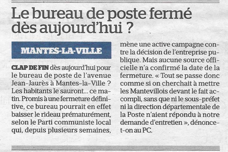 Le Parisien. Le bureau de poste fermé dès aujourd'hui?