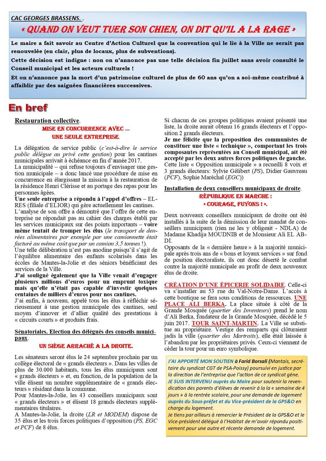 Mantes-la-Jolie. Lettre d'informations municipales (Marc Jammet)