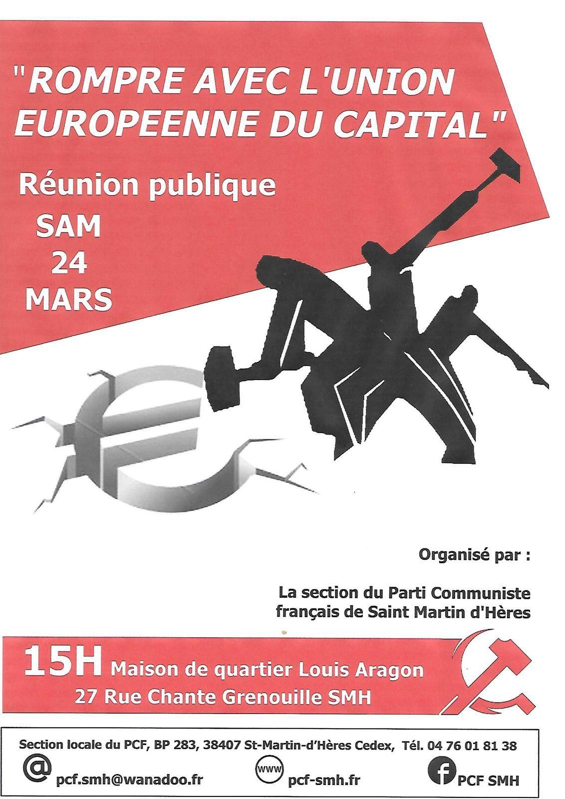 Saint-Martin-d'Hères. Réunion publique: rupture avec l'Union Européenne du capital