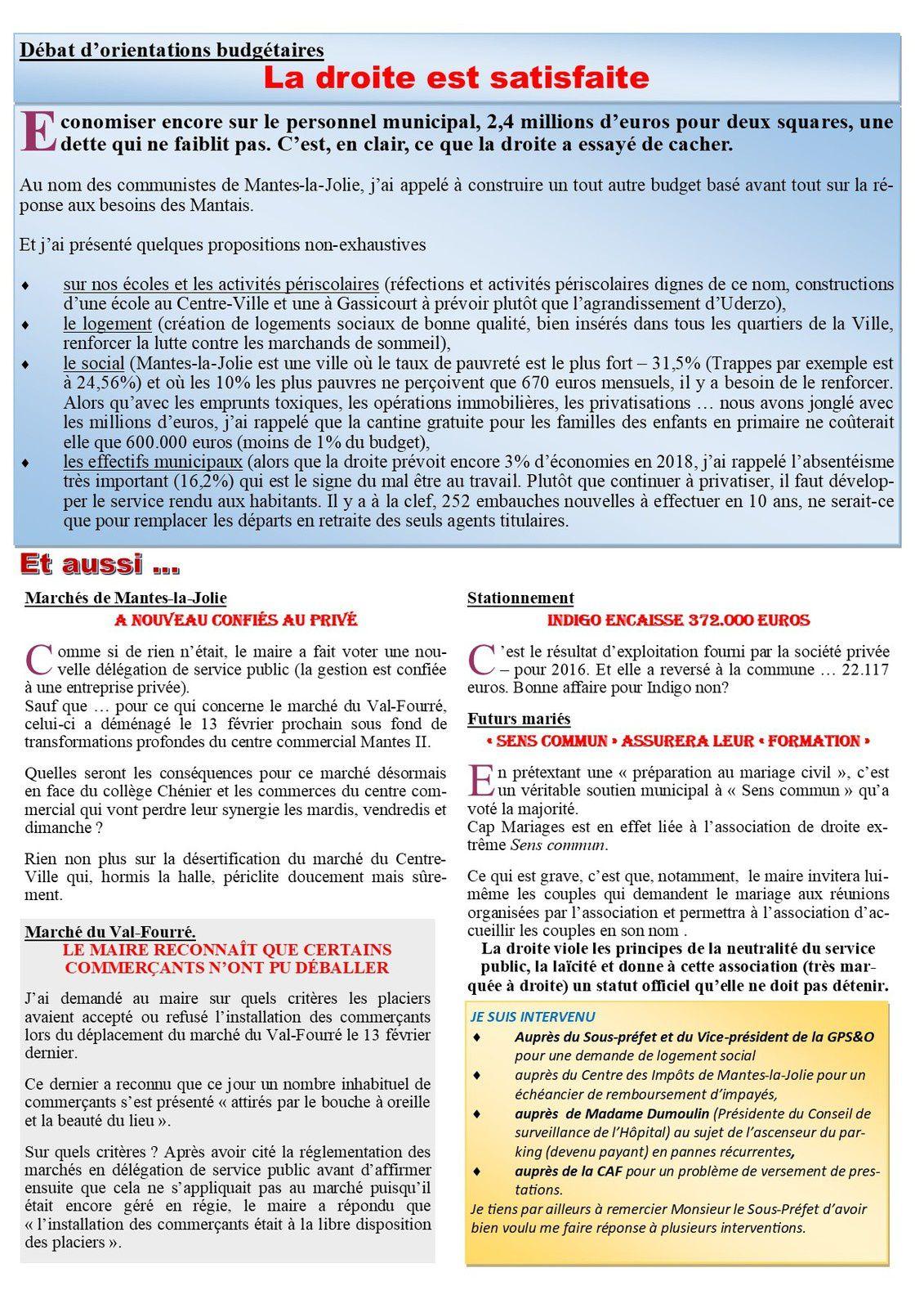 """Mantes-la-Jolie. De la préparation du budget municipal à """"Sens commun"""" proposé aux futurs mariés"""