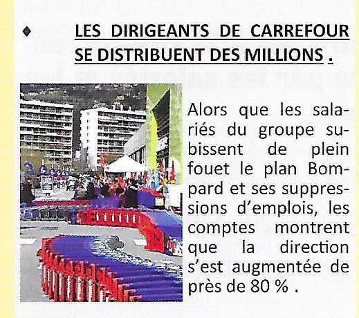 LES DIRIGEANTS DE CARREFOUR SE DISTRIBUENT DES MILLIONS .