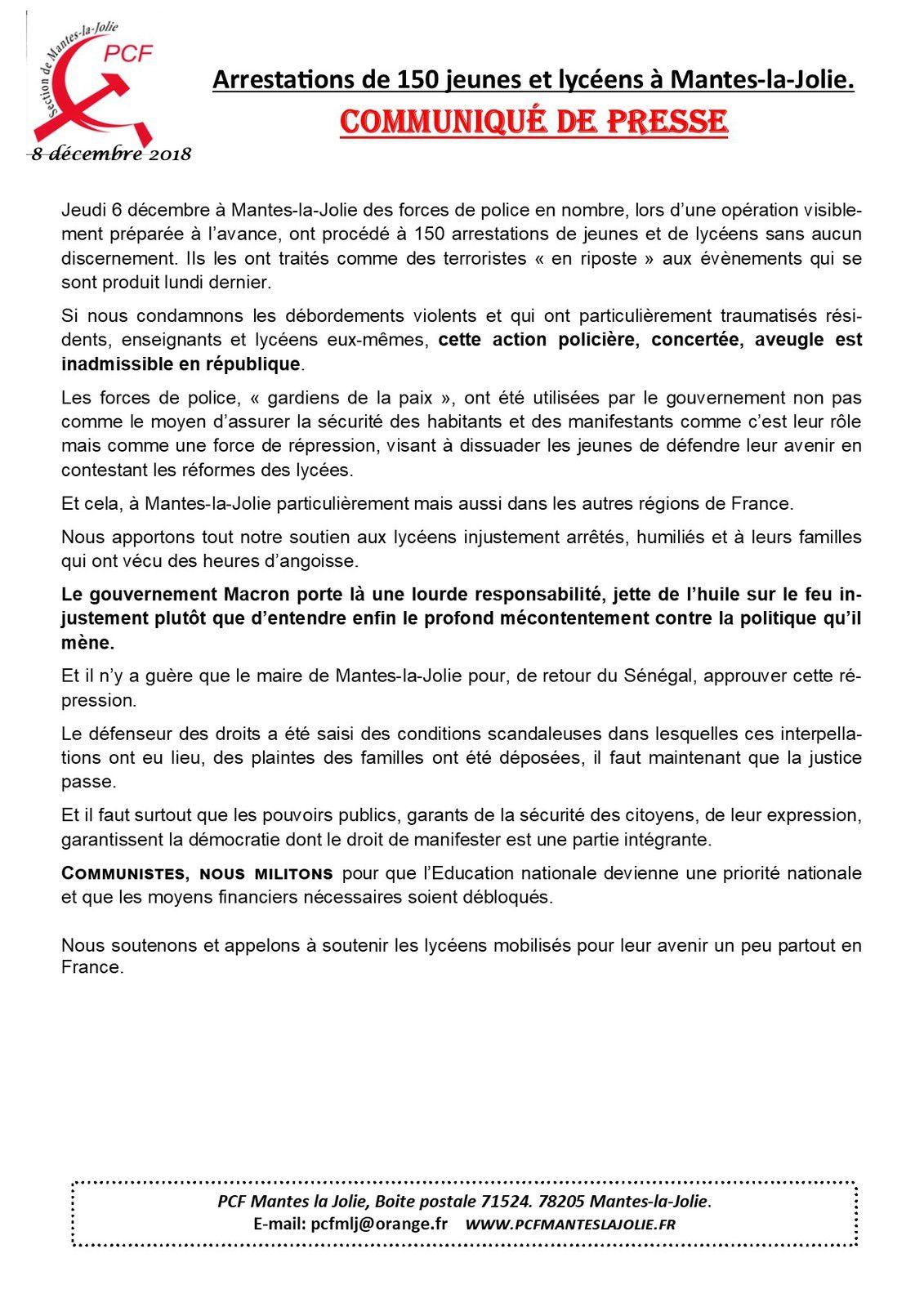 Arrestations de 150 jeunes et lycéens à Mantes-la-Jolie. Communiqué de presse