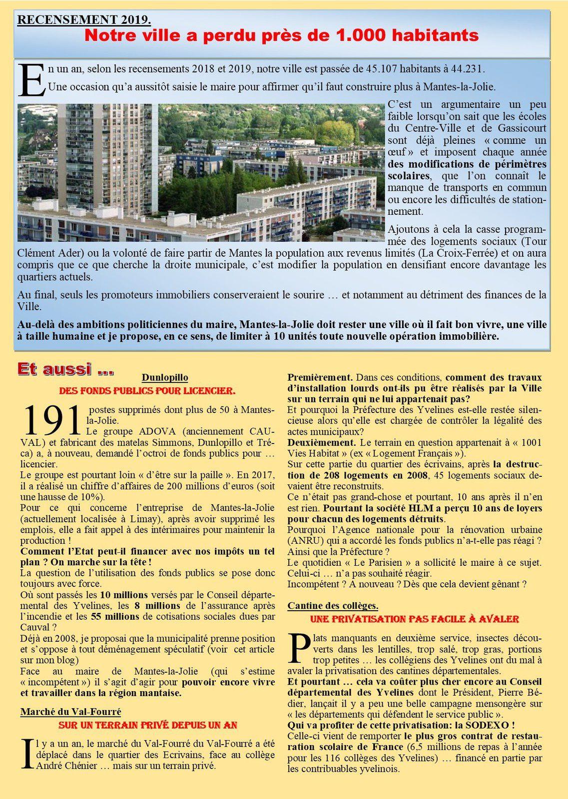 Mantes-la-Jolie. Lettre d'informations municipales de notre élu
