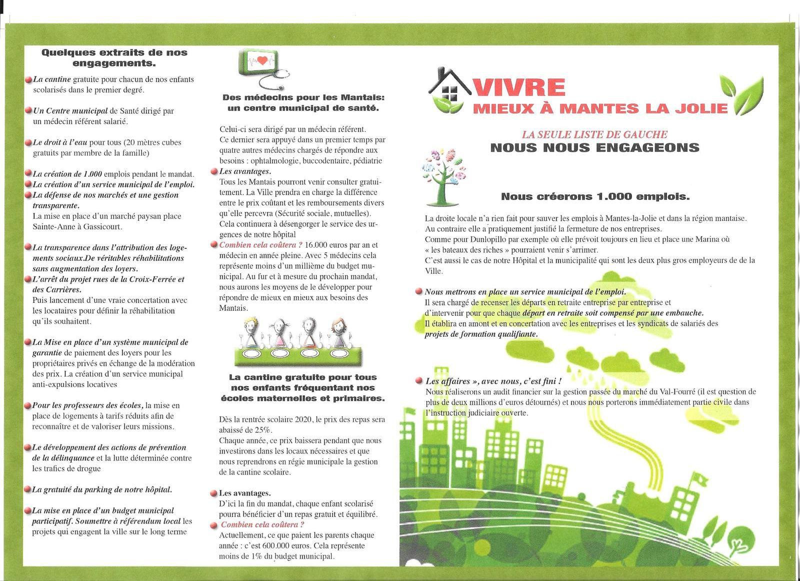 """VIVRE MIEUX A MANTES-LA-JOLIE. Le """"Quatre pages"""" de notre liste"""