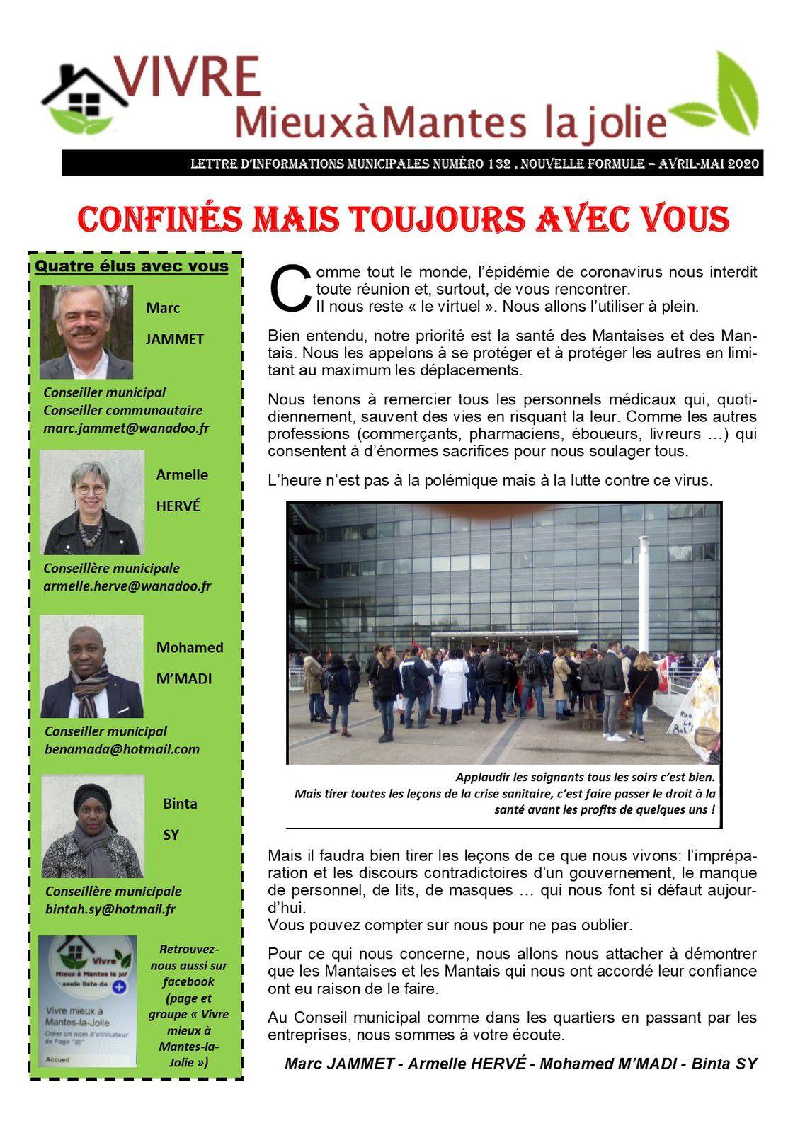 Vivre mieux à Mantes-la-Jolie. Premier bulletin d'information de ses quatre élus
