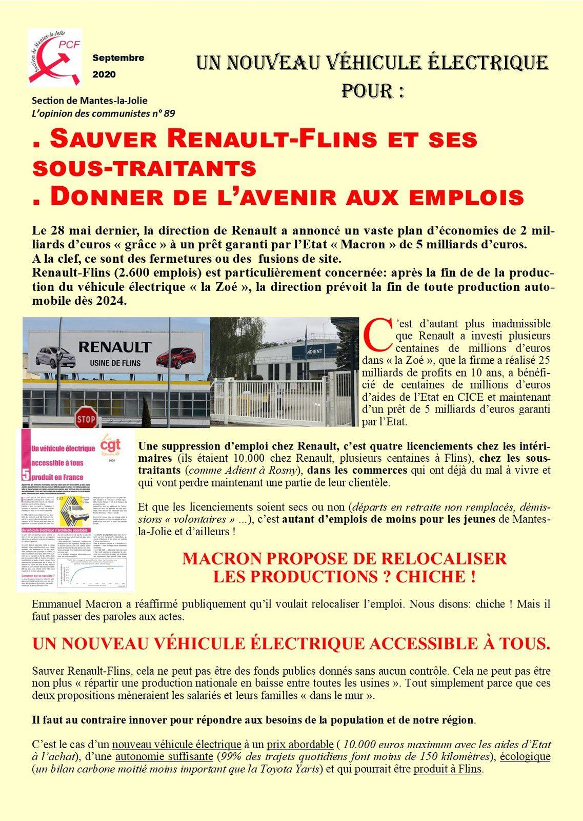 L'Opinion des communistes. Un nouveau véhicule électrique pour : Sauver Renault-Flins et ses sous-traitants . Donner de l'avenir aux emplois