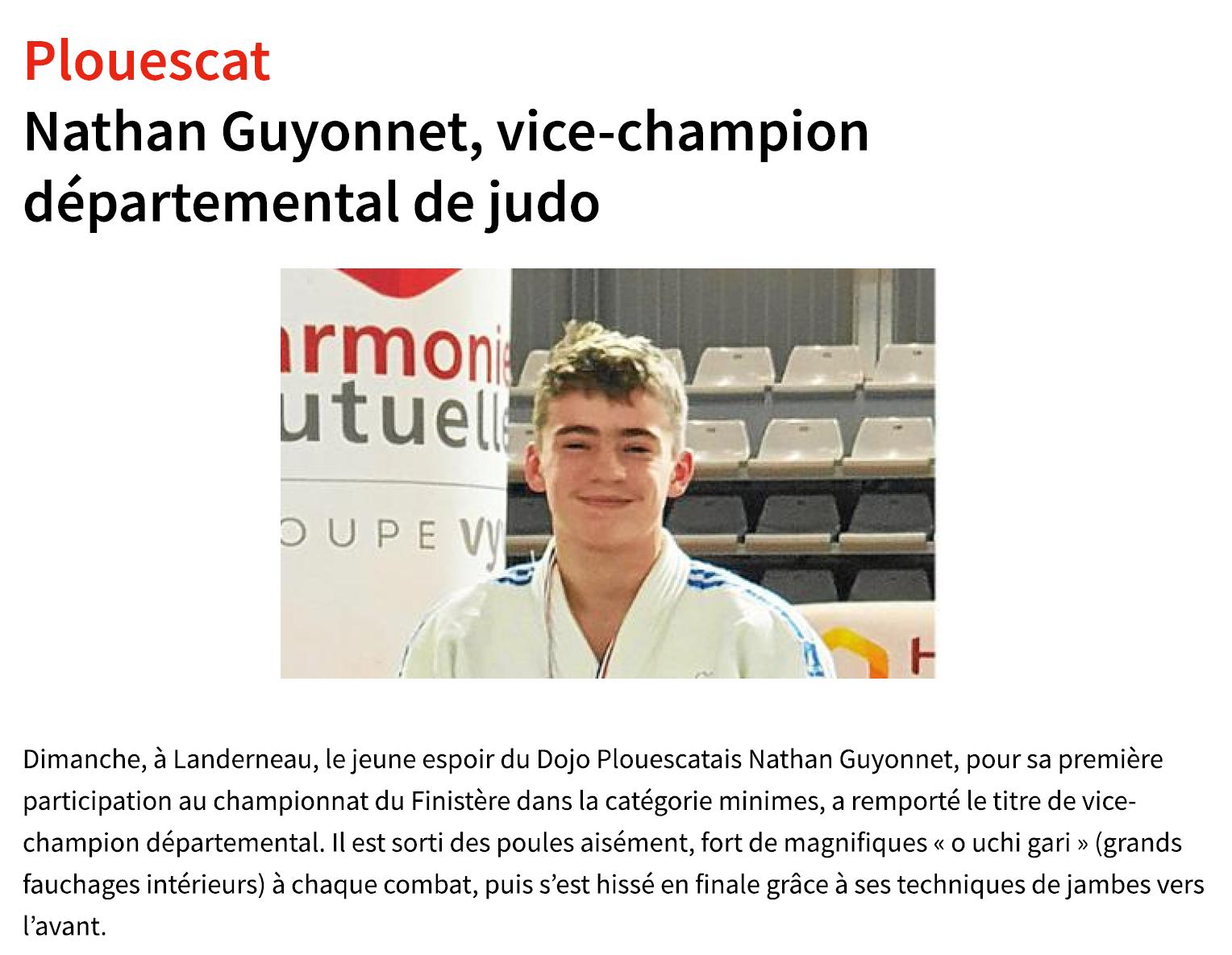 Nathan GUYONNET vice-champion du Finistère Minimes 2020