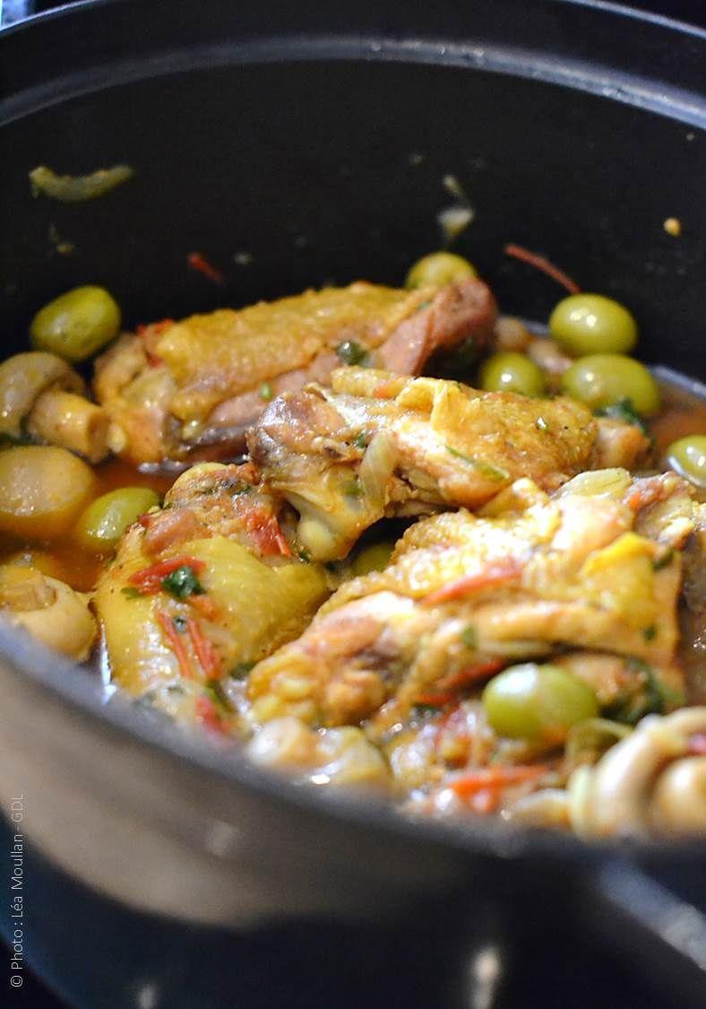 Carry de poulet olives et champignons (créole)