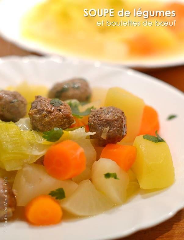 Soupe de légumes et boulettes de boeuf