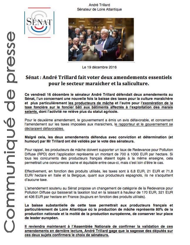 Saliculture; Maraichage, Sébat; amendements, André Trillard