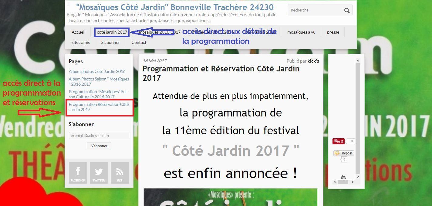 Programmation et Réservations Côté Jardin 2017