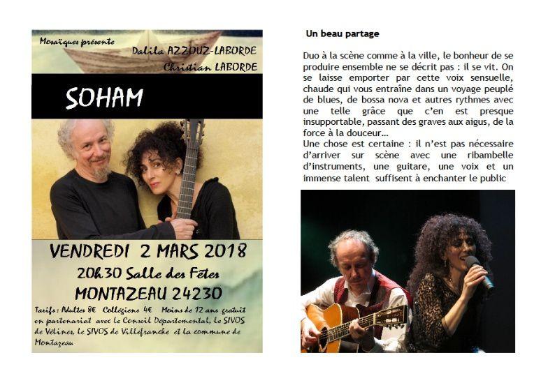 SOHAM vendredi 2 mars 2018, plus que quelques places disponibles : La Presse bis...