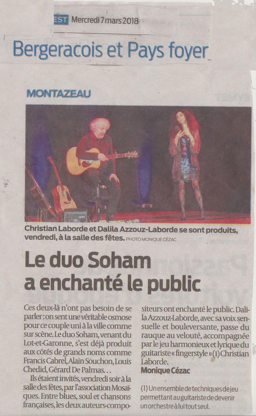 """"""" SOHAM """" Spectacle Enchanteur pour Public Enchanté : la Presse en parle..."""