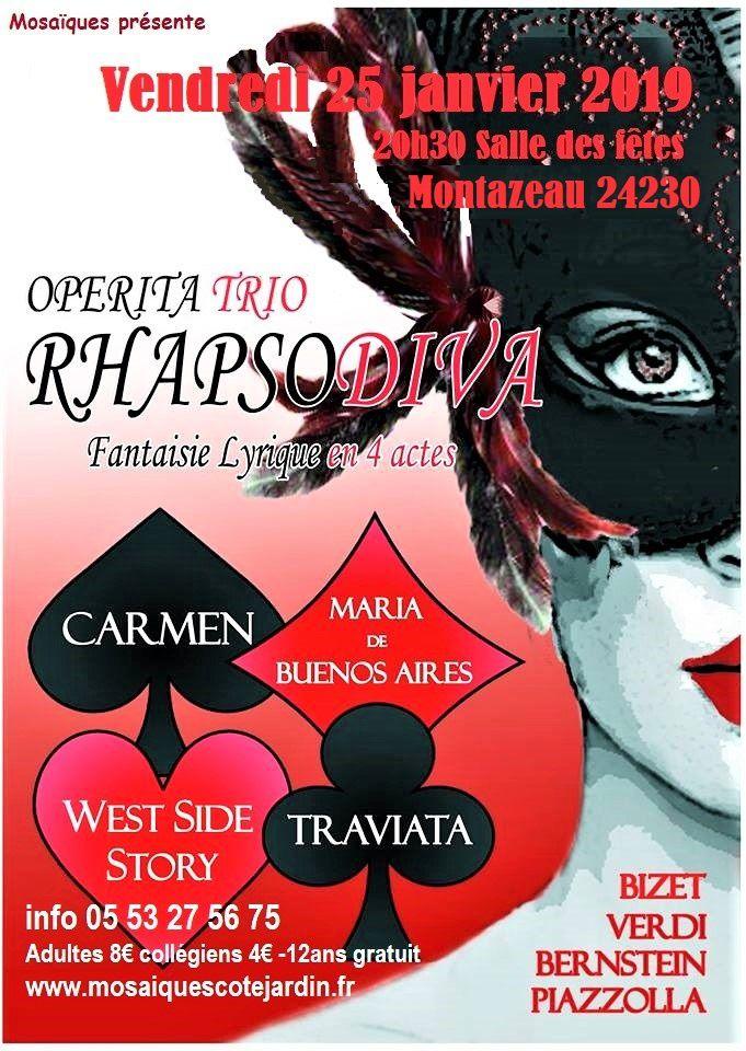 Opérita Trio : Rhapsodiva, la presse en parle ! Vendredi 25 Janvier à Montazeau