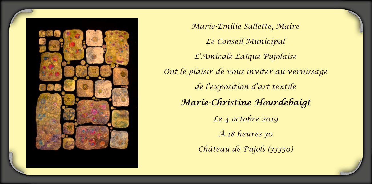 """""""Mosaïques"""" aime : Exposition Art Textile de Marie Christine Hourdebaigt"""
