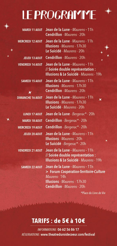 7ème ÉDITION DU FESTIVAL du Théâtre du Roi de Coeur  Réservations ouvertes à partir du lundi 29 juillet 18h