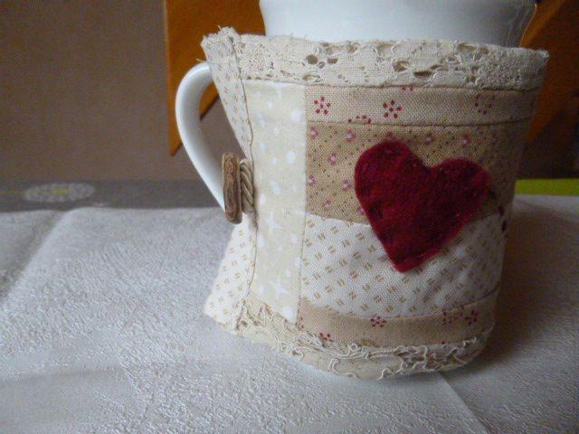 Couvre-mugs :  crazypatch et récup'