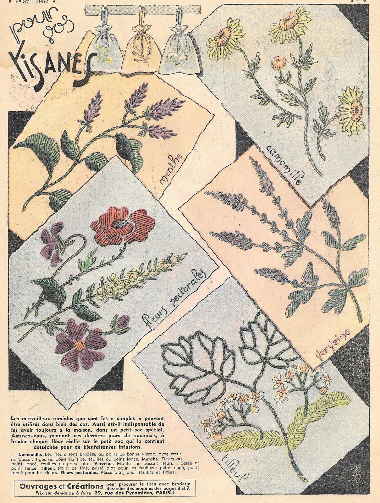 Broderie à la main pour sachets de tisane (vintage)