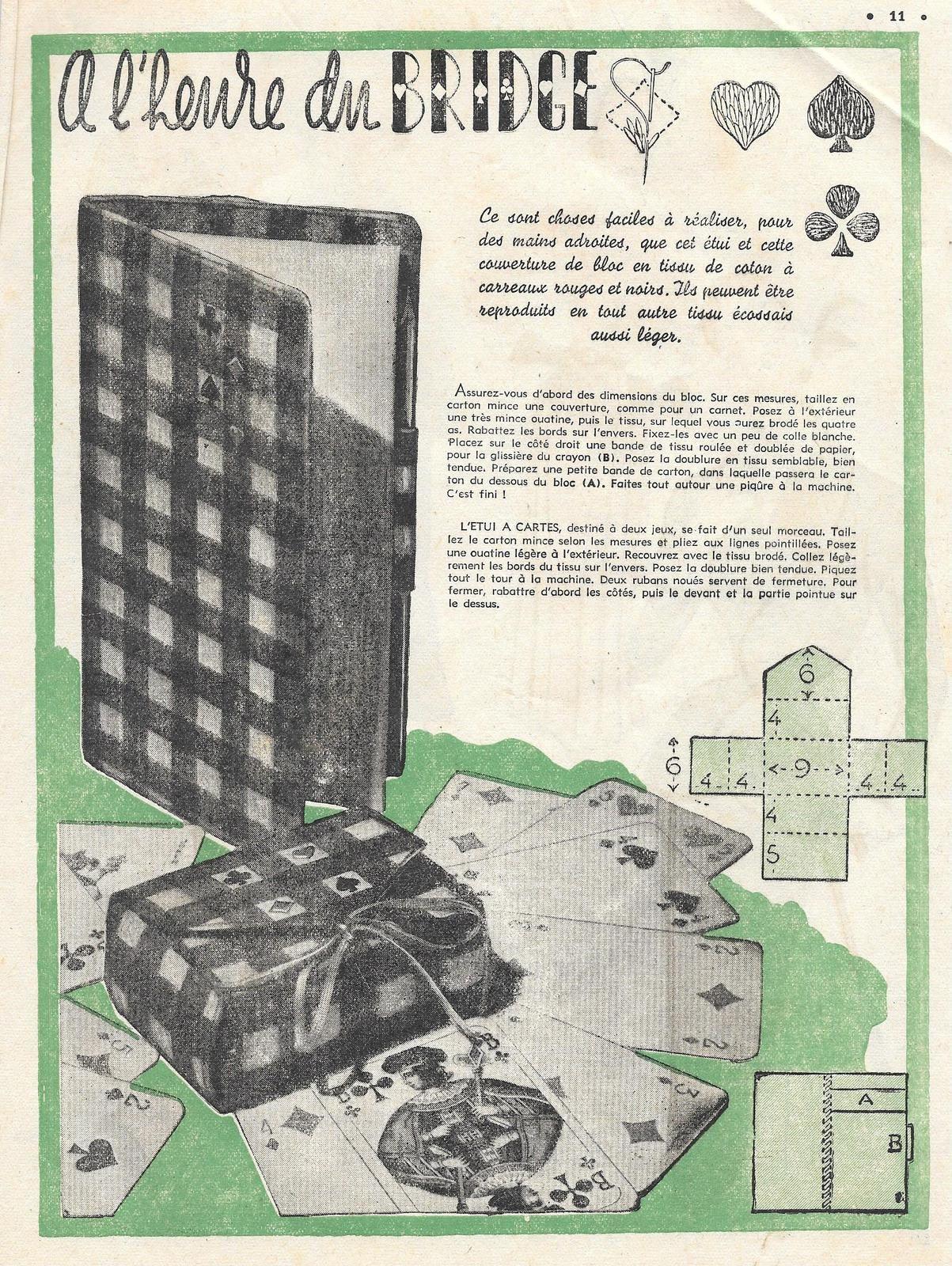 cartonnage : boite pour jeu de 58 cartes et dessus de bloc assortis