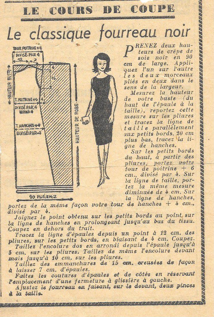 Couture vintage : robe fourreau noire
