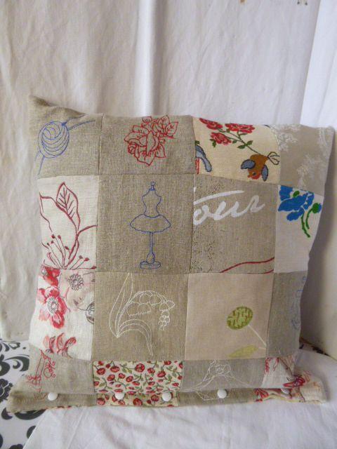 Housse de coussin  41 cm patchwork simple