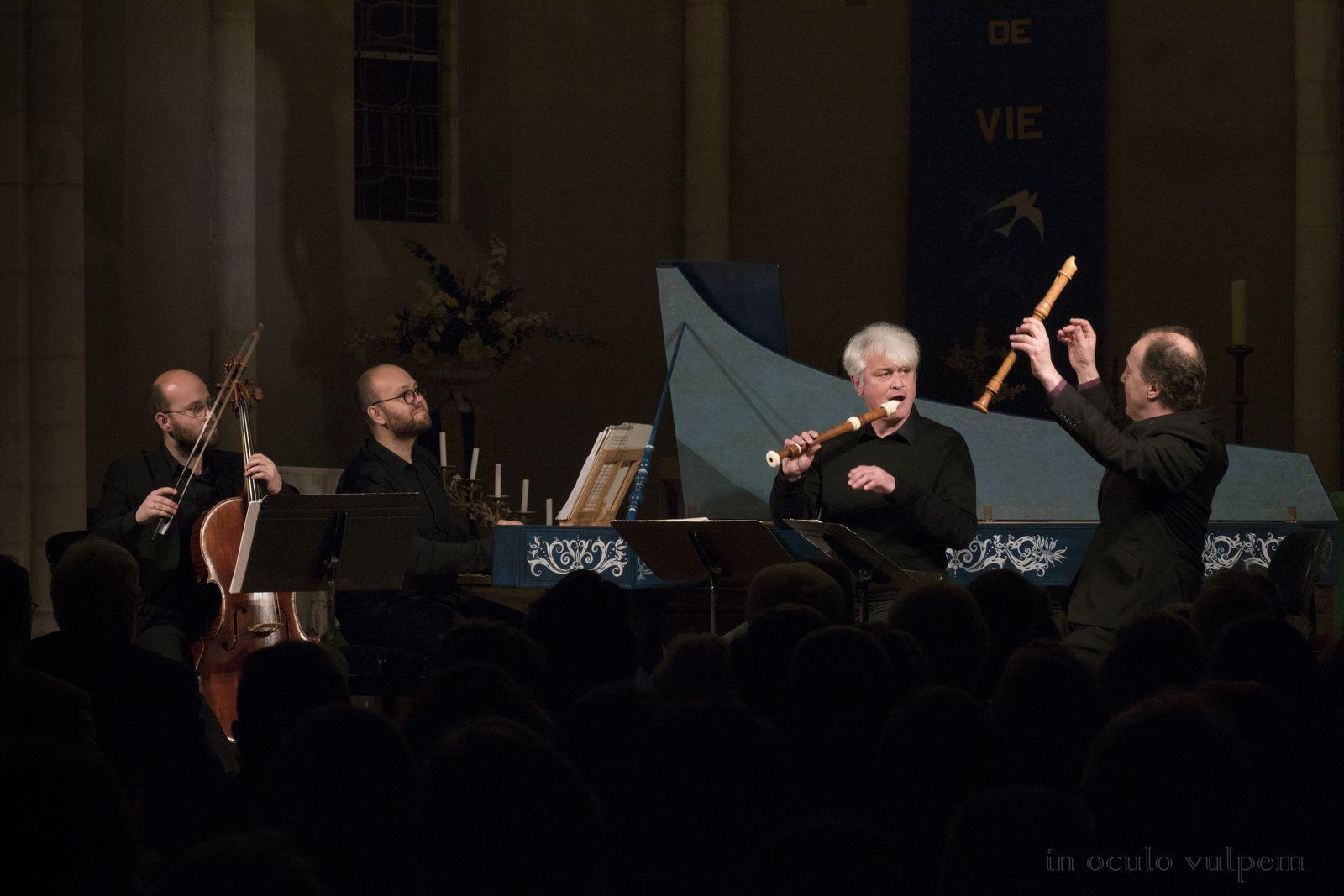 Les Promenades musicales du Pays d'Auge. Jean Marie Segretier et Hugo Reyne, flûtes; François Gallon, violoncelle baroque; Pierre Gallon, clavecin. Eglise de Saint-Loup-de-Fribois, 02/12/2018.