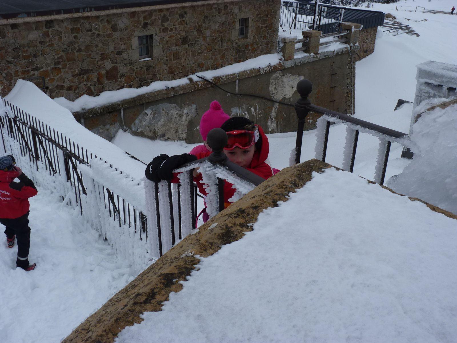 Les CM1 et CM2 sont allés skier à l'Aigoual, une belle journée et beaucoup de neige.
