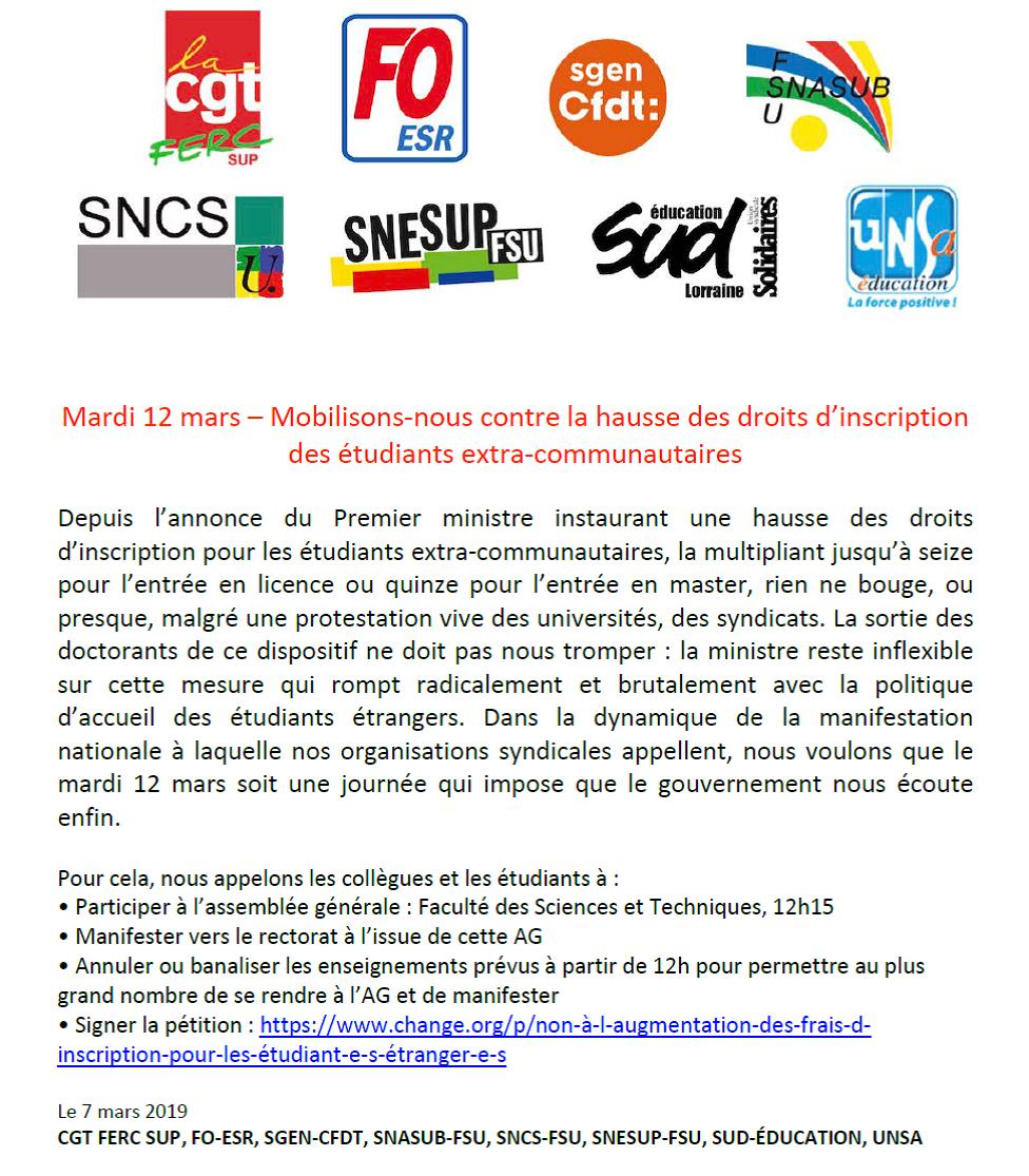 Mardi 12 mars – Mobilisons-nous contre la hausse des droits d'inscription des étudiants extra-communautaires