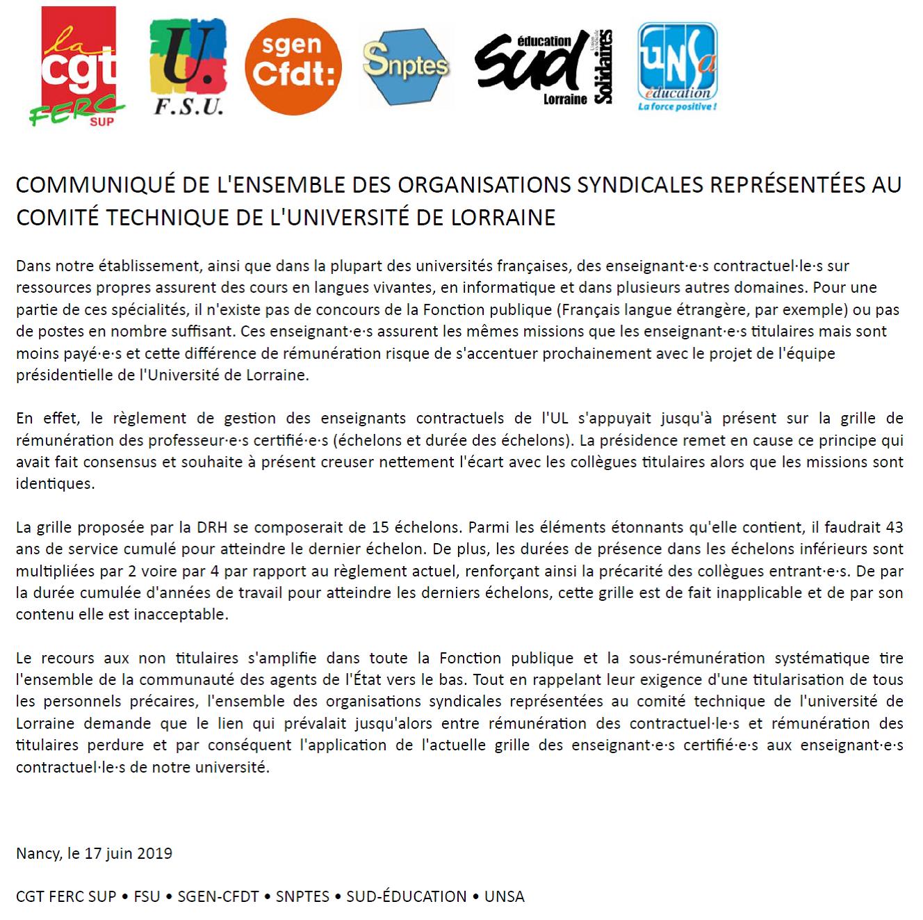 Communiqué intersyndical sur le traitement des enseignants contractuels à l'université de Lorraine