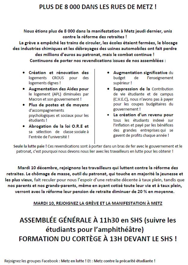 10 décembre AG GREVE MANIF @univ_lorraine : les étudiants mobilisés invitent les personnels