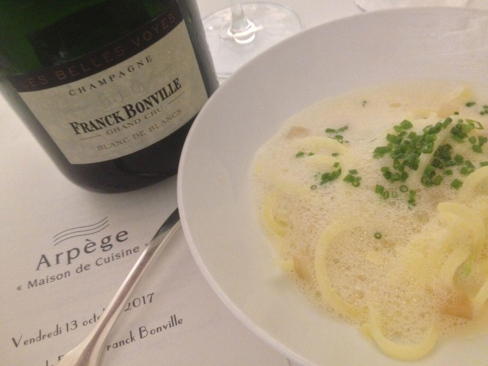 Les champagnes Franck Bonville en petites lampées et en ... Arpège !