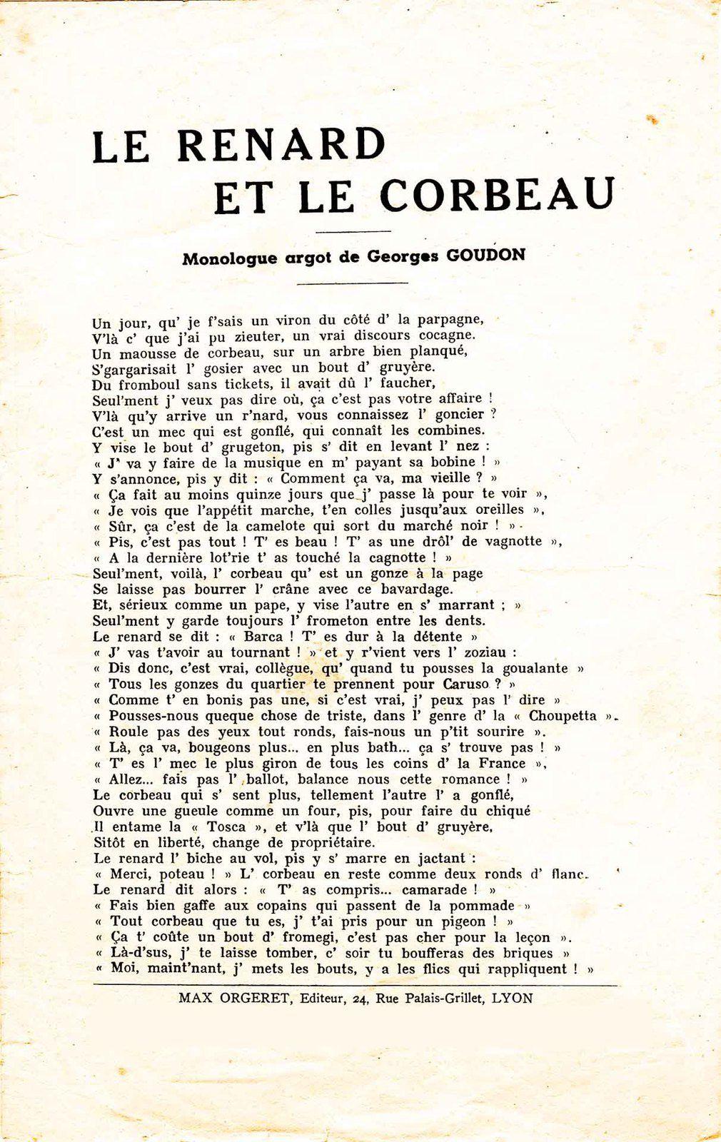 Monologue en argot de Georges GOUDON raconté par Zizi bec en Tole
