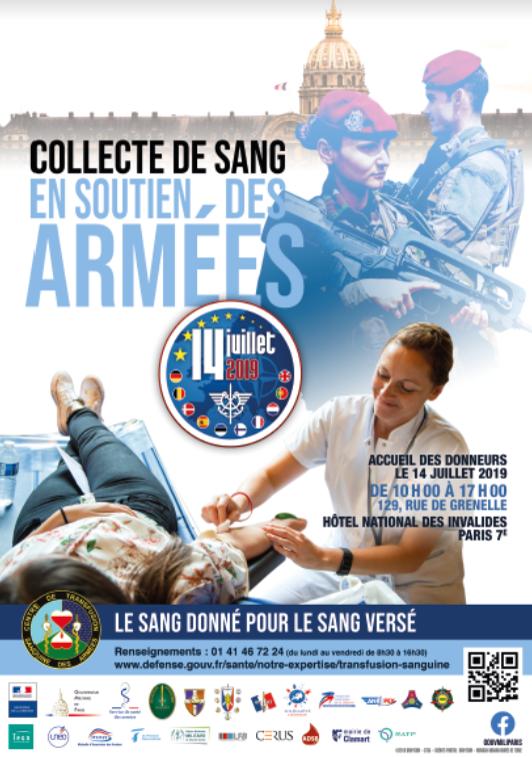 Le 14 juillet : venez aux Invalides donner votre sang pour les soldats !