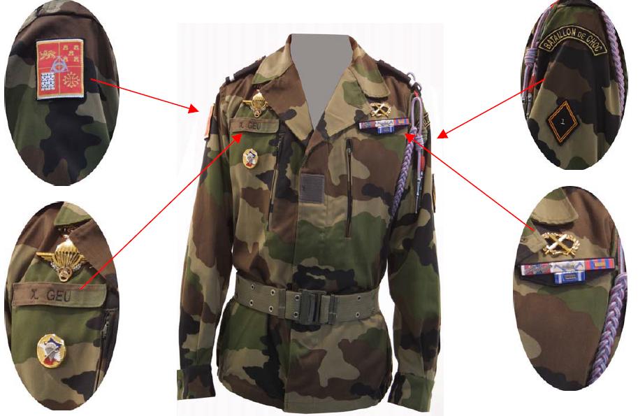 Positionnement des insignes et accessoires sur les tenues de prises d'armes.