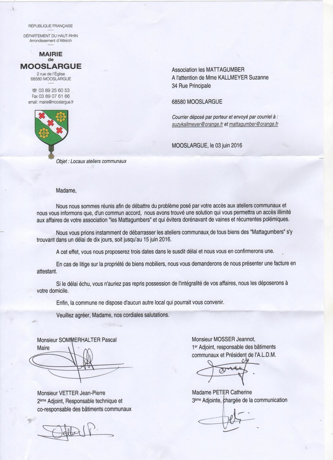 Courrier d'expulsion des Mattagumber de Mooslargue