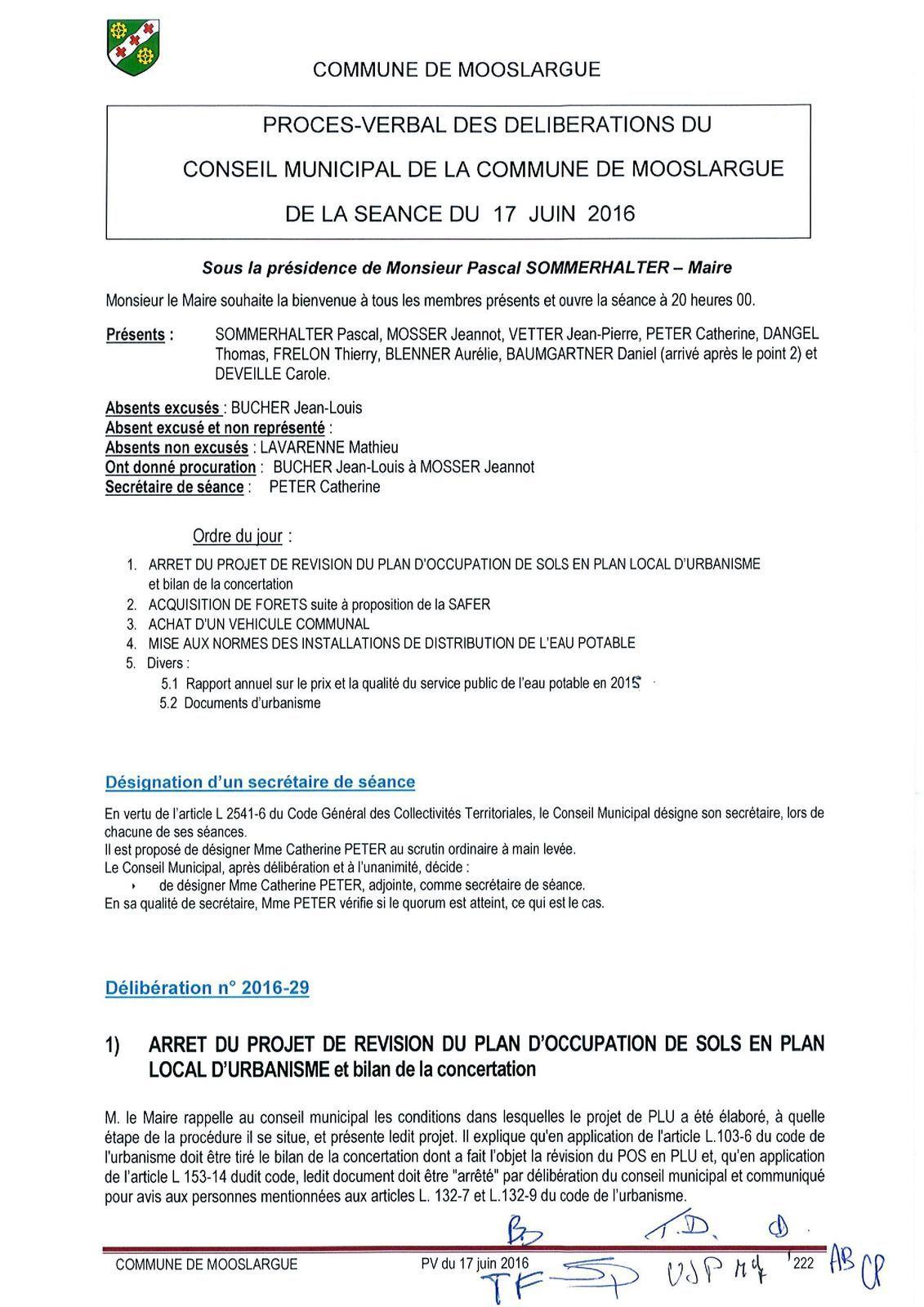 Conseil municipal du 17 juin 2016