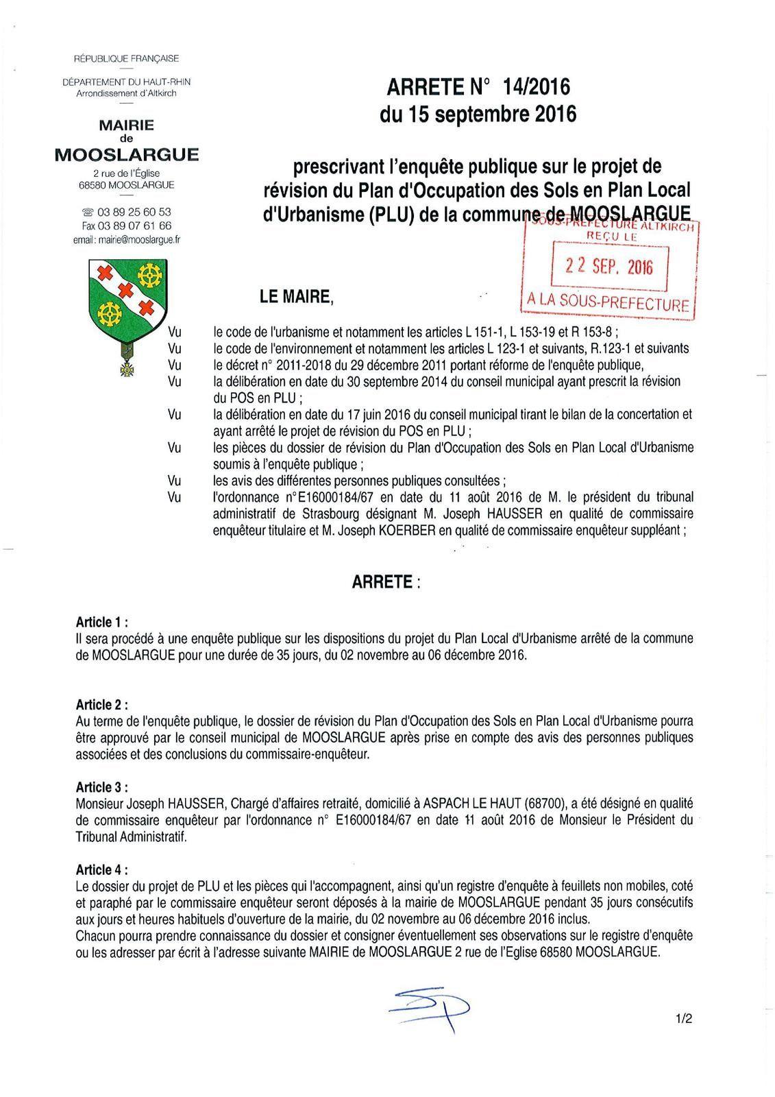 Arrêté prescrivant l'enquête publique sur le projet de révision du POS en PLU