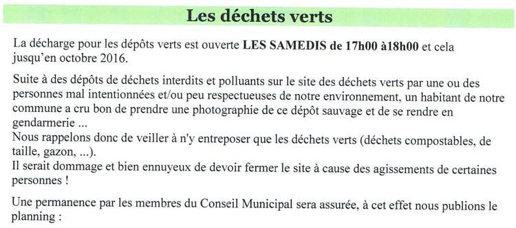 Page internet du site web de la commune et publication dans la Lorgnette n°30 de mai 2016