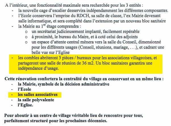 Demande de subvention adressée au Conseil Départemental, précisant clairement la vocation associative du dernier étage du bâtiment