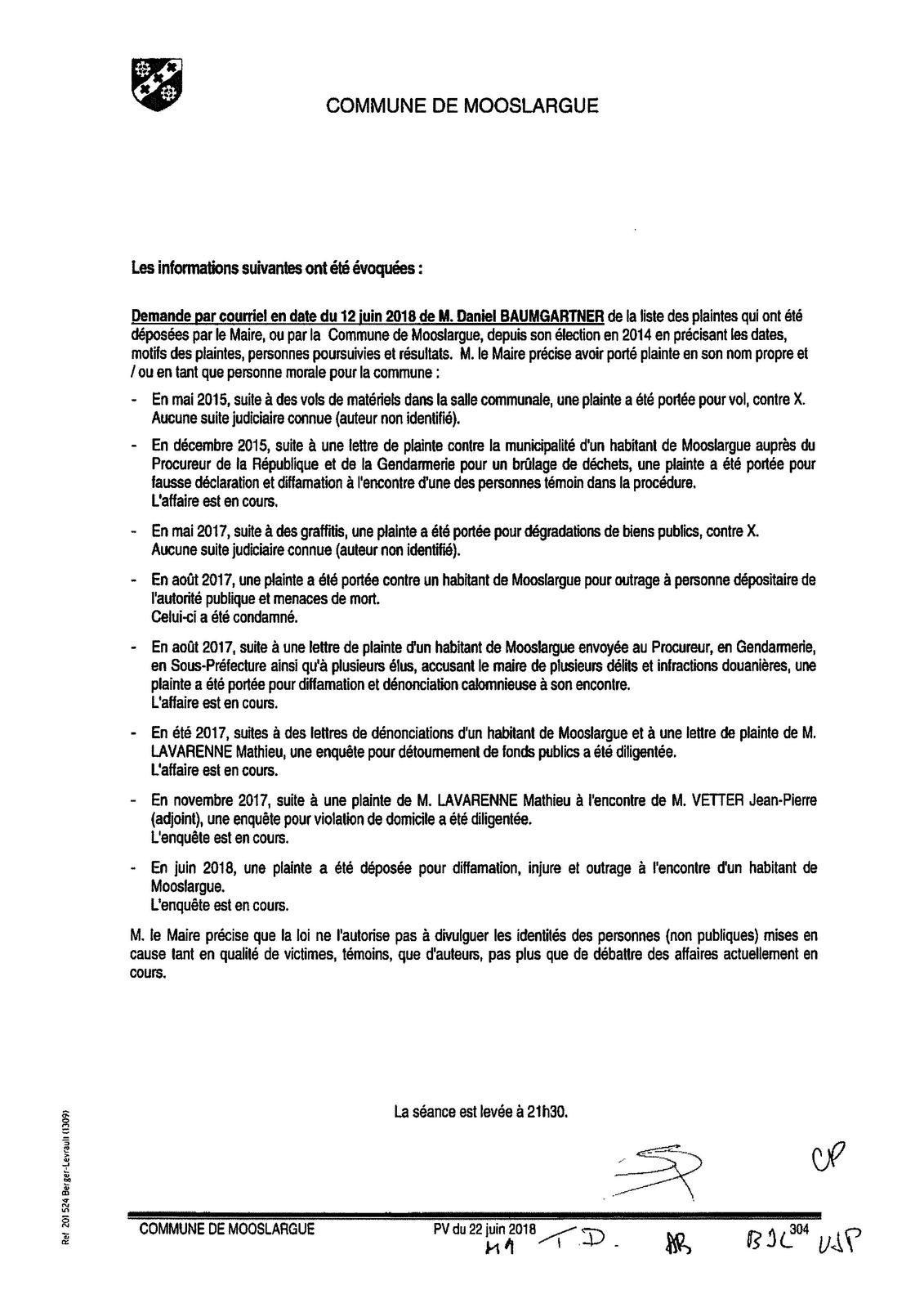 Plaintes à tout va - Conseil municipal du 22 juin 2018