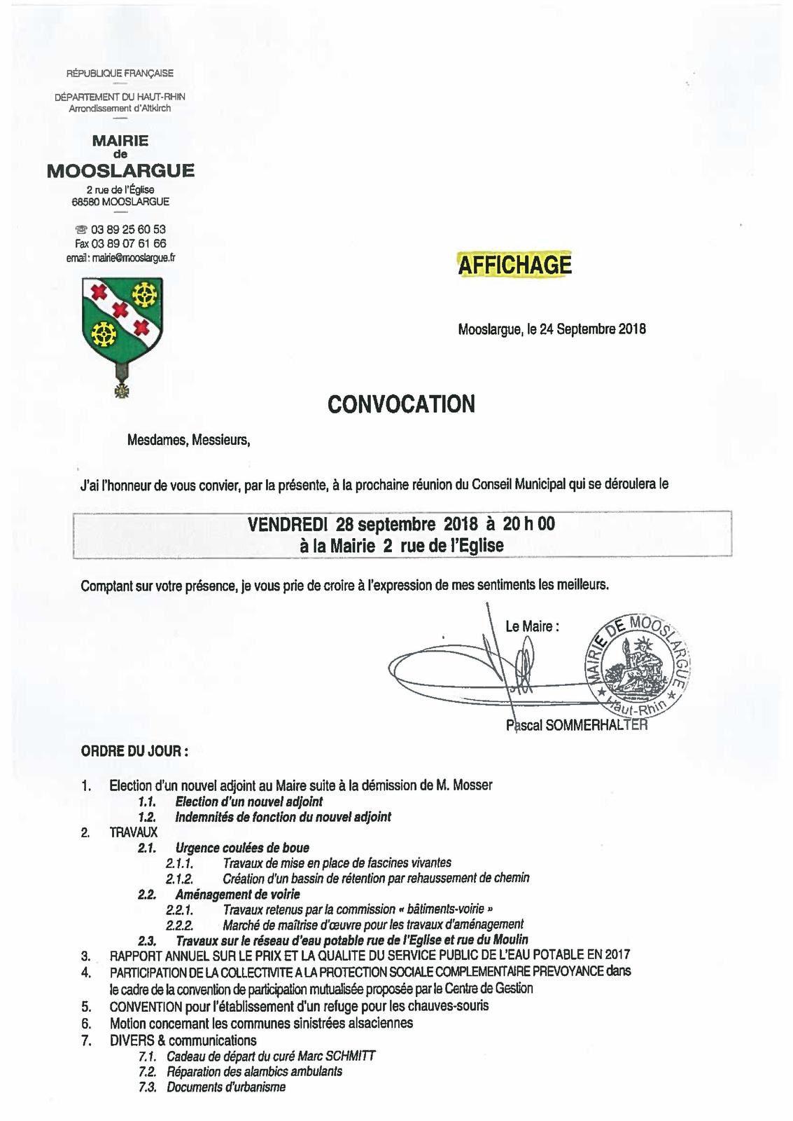Conseil municipal à Mooslargue vendredi 28 septembre à 20h