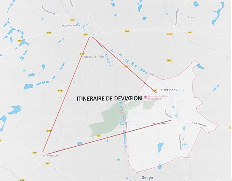 Route barrée à Mooslargue - Déviations