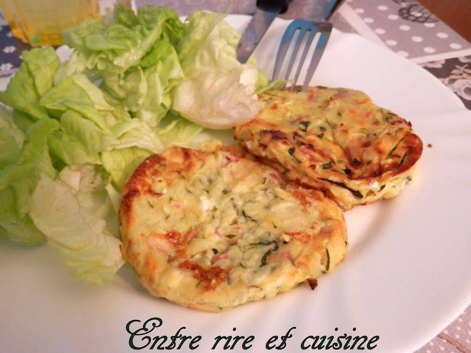 Galettes de courgettes fromage blanc, feta, basilic, jambon