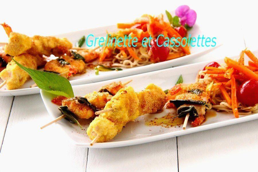 Noodles et brochettes panées à la polenta : Impro en cuisine
