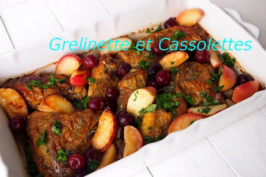 Pintade rôtie aux Pommes et aux Cerises, sauce au vin blanc