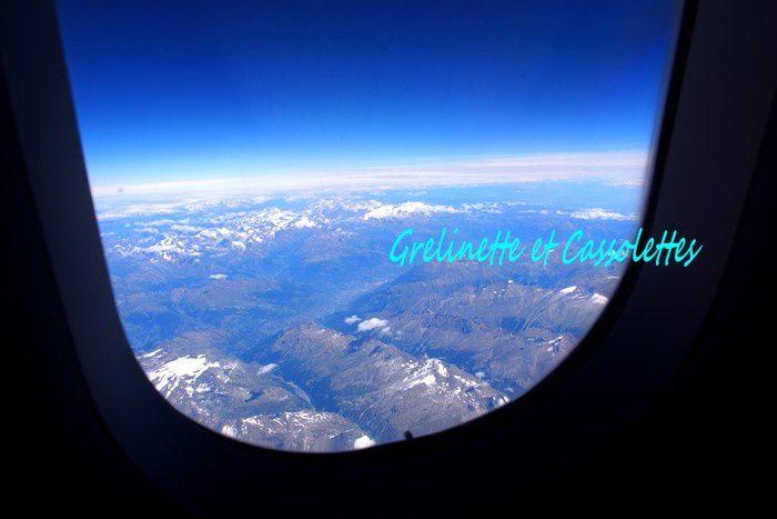 Vues d'Avion : Genève, les Alpes, le Mont Blanc, la côte Italienne