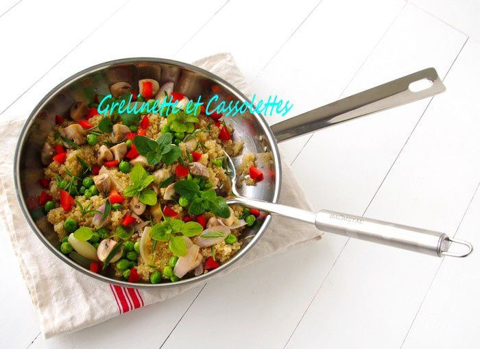One Pot Quinoa aux Champignons, à l'Origan et aux Petits Pois