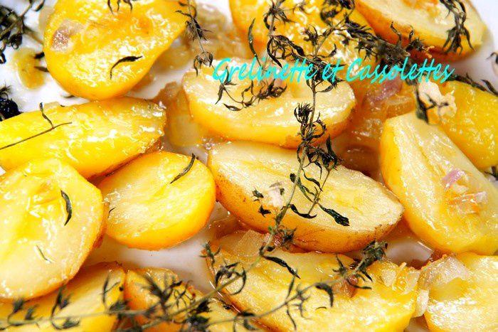 Potatoes au Four, à l'Huile d'Olive, aux Echalotes et à la Sarriette