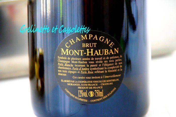 Pintade rôtie sauce au Romarin, Champagne Perle Blanche Mont Hauban